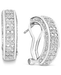 Victoria Townsend Rose Cut Diamond Hoop Earrings In 18K Gold Over Sterling Silver Or Sterling Silver 1 2 Ct. T.W.