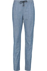 Proenza Schouler Cotton Chambray Tapered Pants Blue