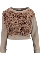 Brunello Cucinelli Appliqued Cotton Jersey Sweatshirt Nude