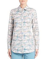 Lafayette 148 New York Brody Printed Cotton Blouse Blue Steel