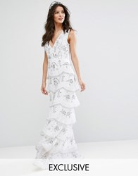 Maya Bridal Tiered Maxi Dress With Allover Embellishment White