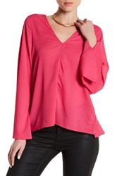 Lucca Couture Long Sleeve Low Back Blouse Pink