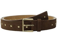 Michael Michael Kors 32Mm Suede Belt With Heavy Pick Stitch And Stud Detail Dark Caramel Women's Belts Brown