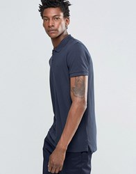 Celio Straight Fit Polo With Chest Crest Navy Blue