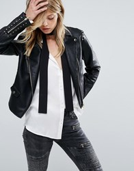 Mango Faux Leather Stud Detail Biker Jacket Black