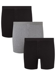John Lewis Organic Cotton Button Fly Trunks Pack Of 3 Black Grey