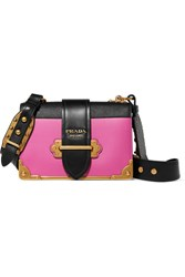 Prada Cahier Small Two Tone Leather Shoulder Bag Pink