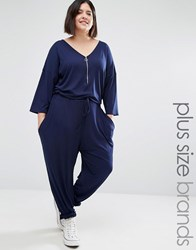 Missguided Plus Jersey Zip Front Jumpsuit Navy