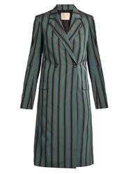 Brock Collection Catch Bibiana Striped Double Breasted Coat Blue Stripe