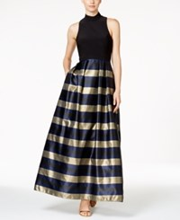 Xscape Evenings Striped Mock Neck Racerback Gown Black Gold