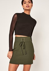 Missguided Khaki Belted Eyelet Detail Mini Skirt