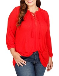 Lucky Brand Plus Plus Lace Front Long Sleeve Top Goji Berry
