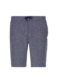 Sunspel Loop Stitch Cotton Shorts Blue