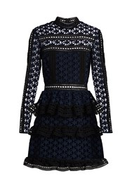Self Portrait High Neck Star Lace Tiered Mini Dress Navy