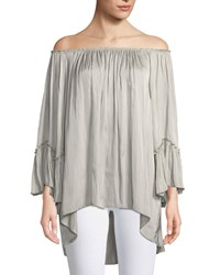 Halston Off The Shoulder Ruched Blouse Stone
