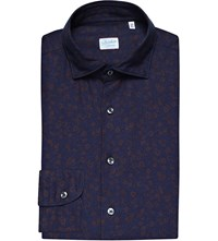 Slowear Regular Fit Floral Print Brushed Cotton Shirt Burgundy