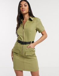 Parisian Utility Mini Dress With Seat Belt Buckle In Khaki Green