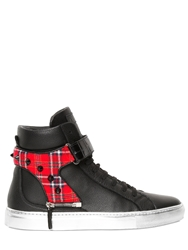 D S De Croc And Plaid Leather High Top Sneakers Black