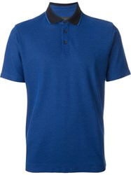 Z Zegna Contrast Collar Polo Shirt Blue