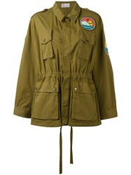 Red Valentino Beach Logo Military Jacket Women Cotton Polyester 38 Green