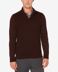 Perry Ellis Men's Quarter Zip Mock Neck Sweater Port