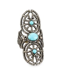Bavna Turquoise And Champagne Diamond Elongated Cocktail Ring Size 7