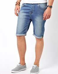 Asos Denim Shorts In Longer Length Blue