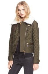 Burberry Brit 'Weatherford' Quilted Jacket With Genuine Shearling Collar Dark Olive