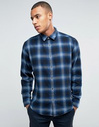Esprit Regular Fit Long Sleeve Shirt In Flanel Check Cotton Navy 400