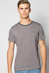 Boohoo T Shirt With Zip Pocket Charcoal
