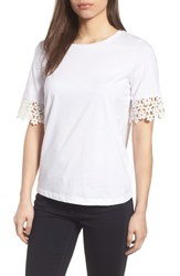 Draper James Palmetto Lace Tee Shirt White
