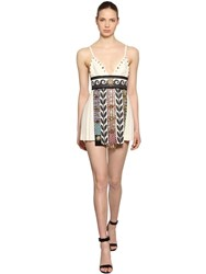 Fausto Puglisi Embellished Wool Crepe Dress White