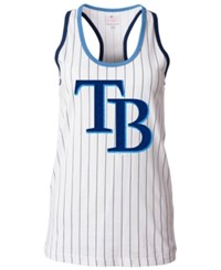 5Th And Ocean Women's Tampa Bay Rays Pinstripe Glitter Tank Top White