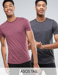 Asos Tall 2 Pack T Shirt In Black Marl Brown Marl With Crew Neck Save Multi