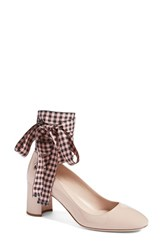 Miu Miu Women's Ribbon Lace Wraparound Pump Nude Patent