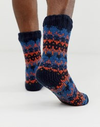 Totes Fairisle Sock Set In Orange Blue