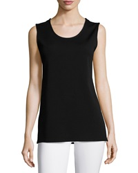 Caroline Rose Wool Knit Longer Tank Black Petite