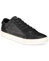Guess Torence Black Low Top Canvas Sneakers Men's Shoes