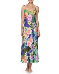 Natori Tahiti Floral Print Long Satin Gown Multi
