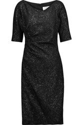 Lela Rose Ruched Metallic Jacquard Dress Black