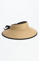 Helen Kaminski Women's 'Mita' Packable Raffia Visor Black Natural Midnight