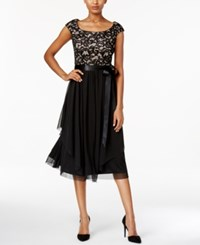 R And M Richards Lace A Line Dress Black Taupe