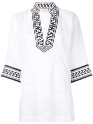 Tory Burch Embroidered Trim Tunic Top White