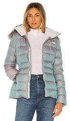 The North Face Gotham Jacket Ii With Faux Fur Trim In Blue. Blue Frost Iridescent