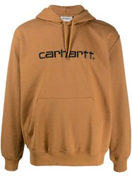 Carhartt Wip Logo Embroidered Hoodie Brown
