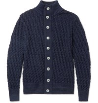 S.N.S. Herning .N. Tark Baketweave Virgin And Merino Wool Blend Cardigan Torm Blue Storm Blue