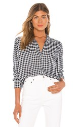 Frank And Eileen Long Sleeve Button Down Top In Blue. Small Navy And Light Blue Plaid