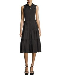 Michael Kors Sleeveless Button Front Midi Shirtdress Black