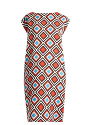Issey Miyake Herbal Boat Neck Mosaic Print Dress Red Multi