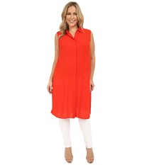 Vince Camuto Plus Size Sleeveless Collard Tunic With Side Slits Fiery Red Women's Clothing